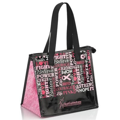 NEW Laminated Insulated Breast Cancer Awareness Lunch Bag -