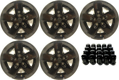 """(5) 2008 Jeep Wrangler 17"""" Black Wheel Skins / Liners / Hubcaps W/ Lugnuts"""