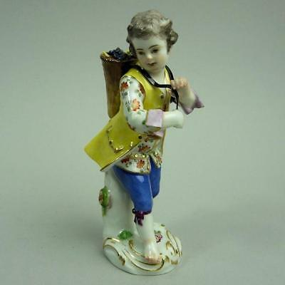 Antique Meissen Porcelain Figure Of A Boy Collecting Grapes #29