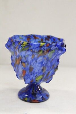 Art Deco Czech Spiked Blue Orange Yellow Pedastal Art Glass Vase WOW!