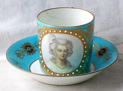 C18Th Sevres Cup And Saucer Hand Painted Picture Marie Antoinette And Jewelled