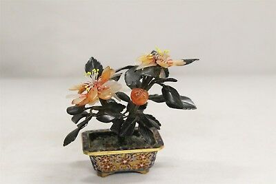 Chinese Cloisonne Gems Amber Fruit Tree 4 Footed Planter WOW