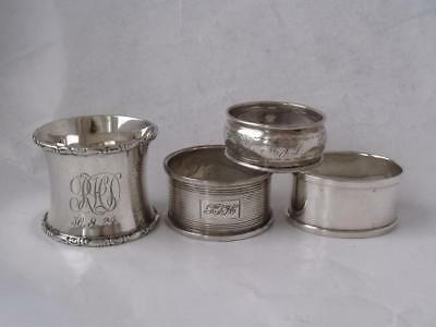 4 Various Solid Sterling Silver Napkin Rings: Chester/ Birmingham/ 85 g
