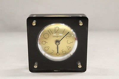Mid Century Modern Howard Miller Black Gold Squared Lucite Clock Eames
