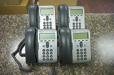 Lot of (4) Cisco 7911 IP Business Phones CP-7911G V09 with Handsets & Stands
