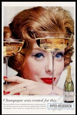 1960 Piper Heidsieck Brut champagne 1953 bottle & woman photo vintage print ad
