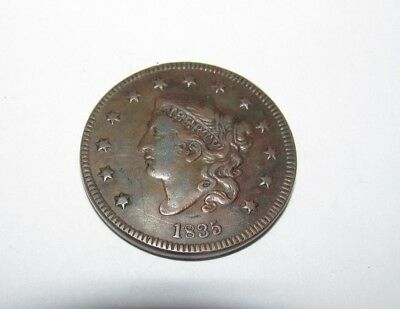 1835 1c USA Large One Cent penny Coronet Head coin beautiful full liberty WOW!