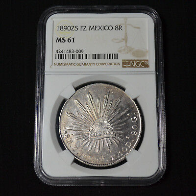1890Zs Fz Mexico 8 Reales, Zacatecas, Km377.13, Brilliant Uncirculated, Ngc Ms61