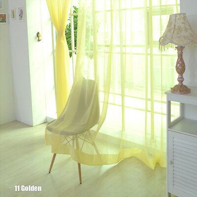 Floral Voile Curtain Decor Window Curtain Panel Sheer Valances Scarf Golden SS01