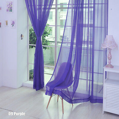 Floral Voile Curtain Door Window Curtain Panel Sheer Valances Scarf Purple SS 01