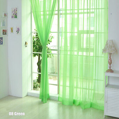 Floral Voile Curtain Door Window Curtain Panel Sheer Valances Scarf Green SS 01