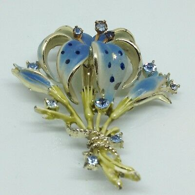 Vintage LILY FLOWER BROOCH PIN Blue Rhinestone Enamel Gold Tone Costume Jewelry