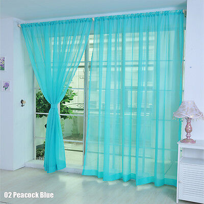 Floral Voile Curtain Window Curtain Panel Sheer Valances Scarf Peacock Blue SS01