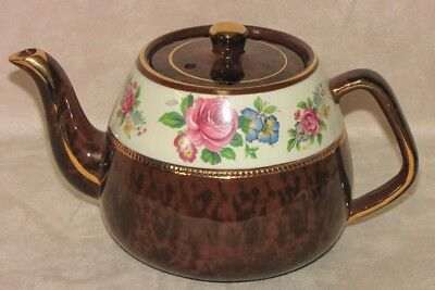 Vintage Arthur Woods English Pottery Floral Brown White Teapot