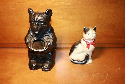 Group of 2 banks...Cast Iron Hubley BEAR W/ POT and Cat with Box Still bank.