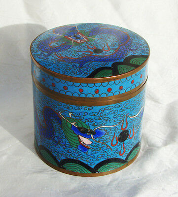 TEA TOBACCO BOX Antique CLOISONNE Dragons on BRASS Hand Painted  * CHINA * 1900