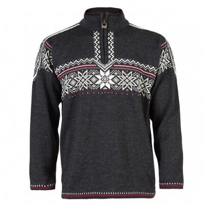 Dale of  Norway Holmenkollen dark charcoal/off white/red rose Pullover Sweater