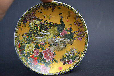 Collectible China Old porcelain paint peacock flower little Exquisite Plate