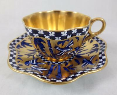 Antique COALPORT Bamboo Bird Garden SCALLOPED Gold Lined TEA CUP & SAUCER