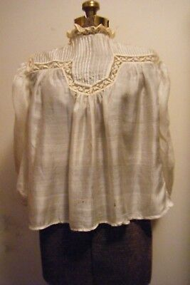 Ant. Victorian Ivory Silk Blouse W/lace Inserts As Is 4 Display Fabric