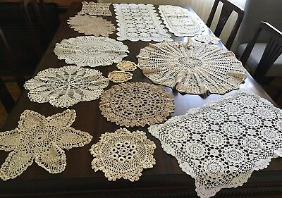 CROCHET 14 Assorted Doilies & 2 Table Runners  - Lovely Cond