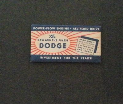 Vintage Made in USA Razor Blade DODGE AMOLA STEEL Power-Flow Car Advertising
