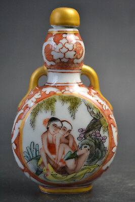 Antique Porcelain Colored Drawing love sexy Chinese Painting Snuff Bottle