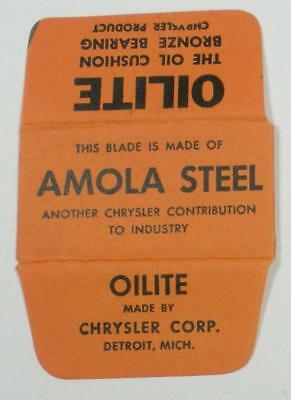 Vintage Made in USA Razor Blade OILITE AMOLA STEEL Chrylsler Corp Advertising