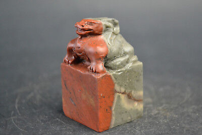 Collectible Chinese Culture Natural Jade Carve dragon wonder Lucky Statue
