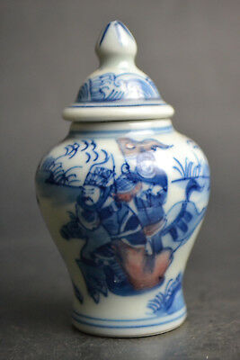 Fine Vintage Porcelain Handwork Painting Knight Exquisite Snuff Bottle China