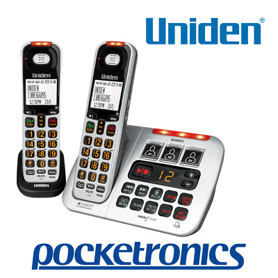 Uniden SSE45+1 Silver TWIN Visual & Hearing Impaired Cordless Phone Loud Big Key
