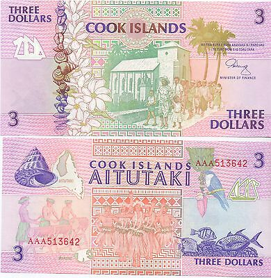 Cookinseln / Cook Islands - 3 Dollars (1992) UNC - Pick 7