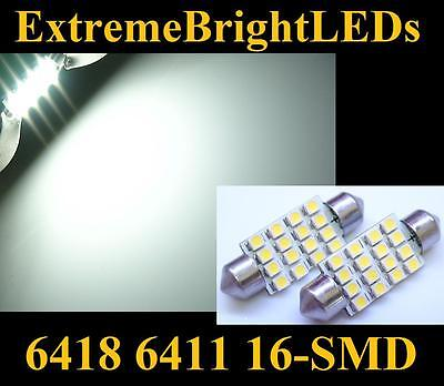 """TWO HID WHITE 39mm 1.55"""" 6411 6418 16-SMD LED Map Dome Door Lights Bulbs #82"""