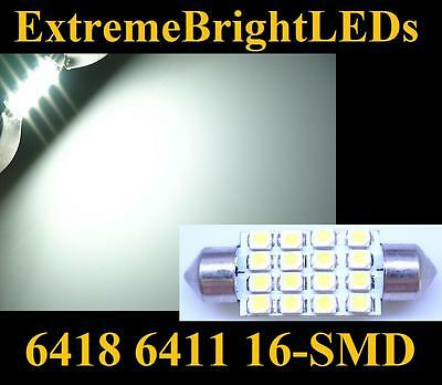 """ONE HID WHITE 39mm 1.55"""" 6411 6418 16-SMD LED Map Dome Door Lights Bulbs #82S"""