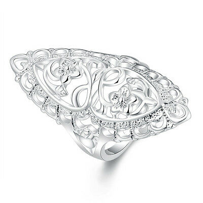 beautiful 925 sterling Silver Wedding Flower retro women Ring jewelry hot gift