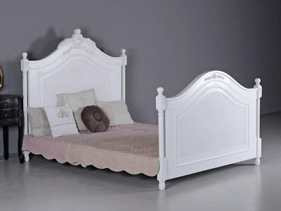 French Double Bed Antique Vintage Shabby Chic Four Poster White