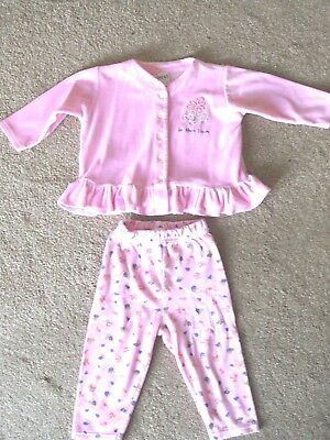 GIRLS NEXT PINK MIX STRETCHY VELOUR JACKET TOP TROUSER SUIT - Age 18-24 Months