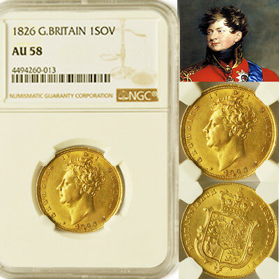 KING GEORGE THE IV 1826 GOLD SOVEREIGN NGC Graded About Uncirculated 58
