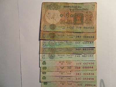 - INDIA  PAPER MONEY - 5 OLD + 5 NEW 'MG' NOTES - RS. 5/- DIFF. SIGNATORIES #E7b