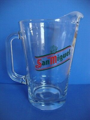 San Miguel Beer Jug Glass Pitcher 2 Pint Crown Mark Pub Quality Made in Italy