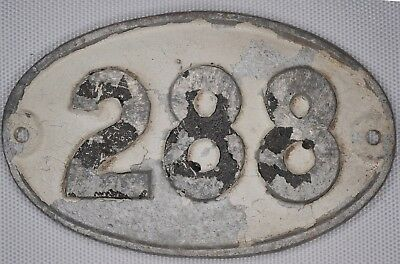 Old English cast metal oval house number 288 door gate plate fence plaque sign
