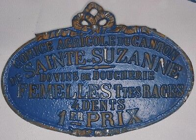 French farm show metal plaque plate 1st prize for four-toothed cow Suzanne 1980s