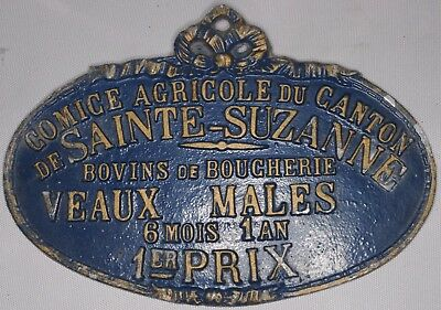 French farm show metal plaque plate 1st prize male veal calf Saint Suzanne 1980s