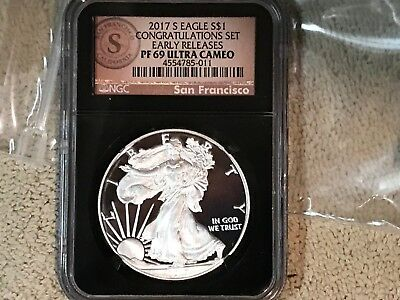 2017 Congratulations American Silver Eagle S Ngc Pf69 Ultra Cameo Early Release