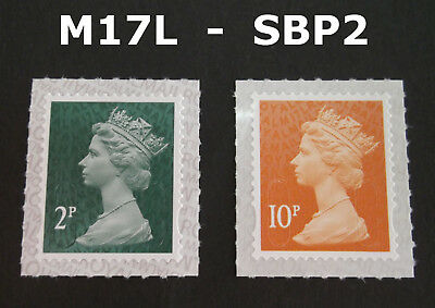 DEC 2017 M17L 2p and 10p Machin SBP2 SINGLE STAMPS from Counter Sheets