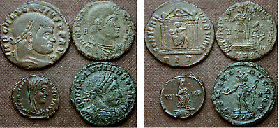 4 LATER ROMAN AE COINS incl Magnentius
