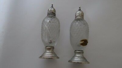 Antique Sterling Silver Cambridge Hand Made Cut Glass Salt And Pepper Shakers