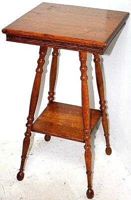 Antique Carved Quarter Sawn Oak, Fern Plant / Lamp Side Table Stand W/ Shelf.