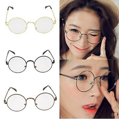 OVERSIZE CLEAR LENS EYE GLASSES RETRO VINTAGE Large Round Silver ...