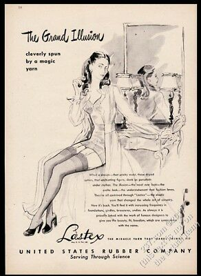 1946 sexy woman in stockings art Lastex lingerie yarn vintage print ad